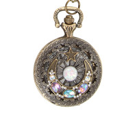 Crescent Moon Pocket Watch Necklace