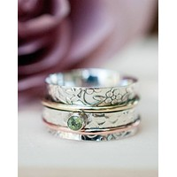 Cardiff Meditation Ring * Peridot * Bronze, Copper and Sterling Silver * BJS017