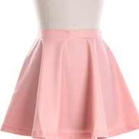 Pink Flared Leather Skirt