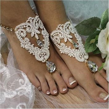 ROMANTIC lace barefoot sandals - ivory