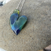 Sparkly blue and green glass heart necklace handblown borosilicate pendant mother's day anniversary birthday gift beautiful unique