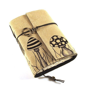Journal Leather Notebook  Mushrooms by Kreativlink on Etsy