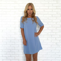 Take The Lead Shift Dress In Baby Blue