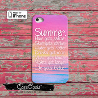 Summer Quote Pink Tumblr Inspired Hair Gets Saltier Skin Gets Darker iPhone 4/4s Case and iPhone 5 and 5s and 5c Case iPhone 6 and 6 Plus +