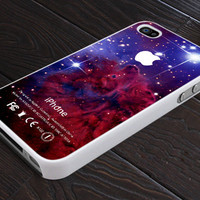 Fur Fox Amazing Comodos Galaxy Nebula - Apple Logo - Print On Hard Cover - For iPhone 4, 4S, and iPhone 5 Case - Black, Clear, and White