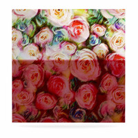 "Dawid Roc ""Pastel Rose Romantic Gifts"" Green Photography Luxe Square Panel"