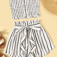 Striped Shirred Bandeau & Paperbag Waist Shorts Set