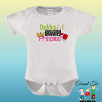 EMBROIDERED Daddy's Little Boxing Princess Baby Bodysuit or Toddler Tshirt