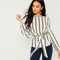 Office Lady Elegant Striped Print Scoop Neck Long Sleeve Blouse Workwear Women Tops Blouses