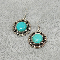 Women's Turquoise Round Earrings