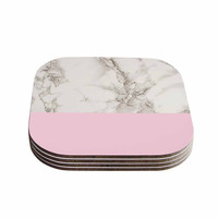 """Suzanne Carter """"Marble And Pink Block"""" Modern Contemporary Coasters (Set of 4)"""