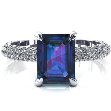 Elley Emerald Alexandrite 4 Claw Prong Diamond Accent Engagement Ring