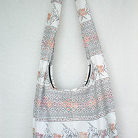 YAAMSTORE thai flora art graphic white hobo bag sling shoulder crossbody hippie boho purse