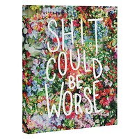 Craft Boner Shit could be worse floral typography Art Canvas