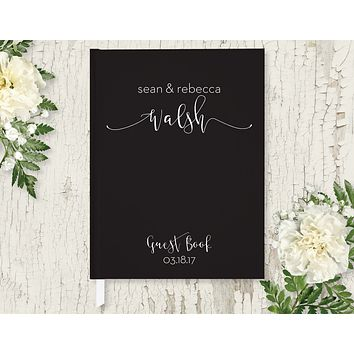 Wedding Guest Book, Hardcover, Modern Black, Choice of Colors & Sizes