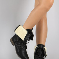 Faux Shearling Cuff Quilted Combat Lace Up Boots