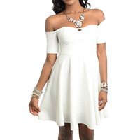 Off Shoulder Skater Dress in Ivory