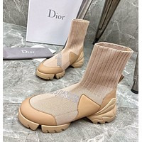 Dior autumn and winter new socks and boots high-density wool flying knit socks, ladies fashion boots