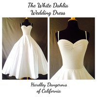 White ROCKABILLY Strappy Tank  Wedding Dress, Petticoat Included,  Casual SATEEN and Stretch Knit Semi Formal Gown, 1950s Style Pin Up