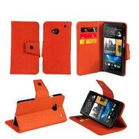 AceAbove HTC One M7 Case Wallet Protective & Stand Case for New HTC One (Orange)