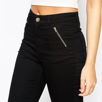 Oasis Jade High Waisted Jean With Zip Pocket