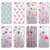 Cute Summer Tropical Tropic Flamingo Animal Soft Clear Phone Case Coque Fundas For iPhone 7 7Plus 6 6S 6Plus 5 5S SE 5C SAMSUNG