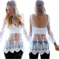 Sheer Lace Crochet Blouse - White/Black