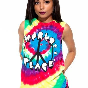 World Peace Tie Dye Muscle Tee