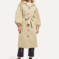 Single Breasted Balloon Sleeve Trench Coat