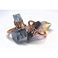 Raw Blue Kyanite Engagement Copper Ring