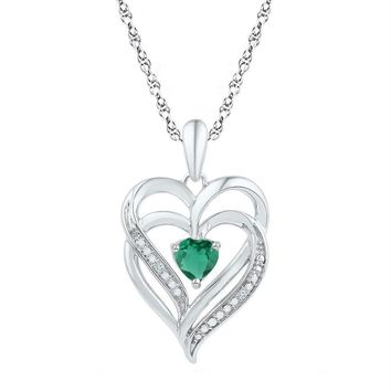 10kt White Gold Women's Emerald Solitaire Stackable Ring