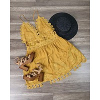 Final Sale - Honey Punch - Summer Lace Mini Dress in Chloe Yellow