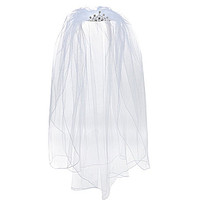 Us Angels Crystal-Embellished Tiara with Detachable Veil - White
