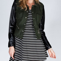 Jou Jou Faux Leather Sleeve Womens Wool Military Jacket Olive  In Sizes