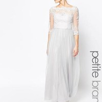 Chi Chi Petite   Chi Chi London Petite Bardot Neck Maxi Dress With Premium Lace And Tulle Skirt at ASOS