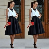 Fashion Sexy Womens Flared Knee Length Skater Skirt Ladies Stretch Midi Office Work Skirt Dress S M L XL [9305621255]
