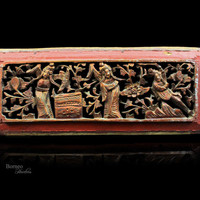 Vintage Oriental Art-Chinese Panel Carved Wood 29x12CM Wall Decor-Floral,Foliage,Figure Scene/Carved Gilt Panel Asian Art Collectible