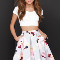 Keepsake Divide Light Grey Floral Print Midi Skirt