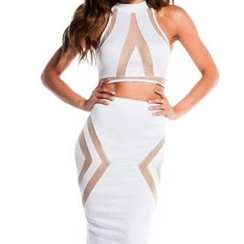 Tori Pure White Illusion Mesh Cut Out Halter Crop Top Two Piece Dress