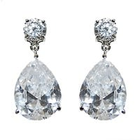 Lia Pear Drop Classic Dangle Earrings | 7.5ct | Cubic Zirconia | Silver