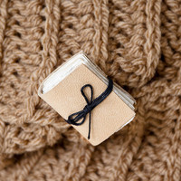 Leather miniature book brooch, mini book jewelry, book lover reader gift, literature jewelry, eco friendly brooch pin beige sand
