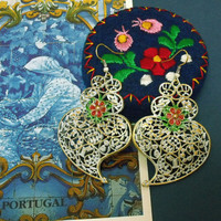Portuguese folk Flower Viana hearts earrings dangle embroidery style Portugal art jewelry