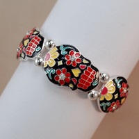 Sugar Skull Double Stretch Hand Painted Bracelet