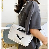 PUMA New fashion letter print leather couple shoulder bag White