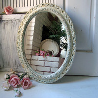 Antique White Oval Ornate Mirror, Large Distressed Vintage Mirror with Patina and Gold Accents, Shabby Chic Home Decor,