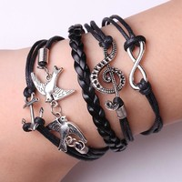 Rope Bracelet Black Love Birds Song Bracelet