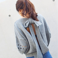 2015 Korean Style autumn and winter Women fashion Pullover Sweater sweet Loose Backless bowknot lacing Hollow out Sweater AC27