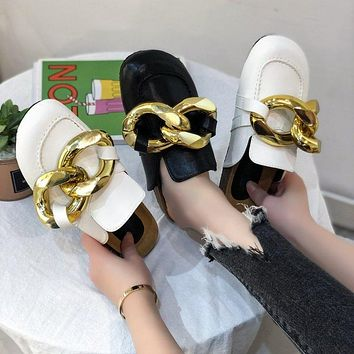 New women's shoes Baotou fashion flat half slippers large metal buckle sandals