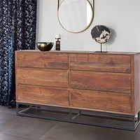 Modern Acacia Wood Dresser or Display Unit With Metal Base, Walnut Brown and Black By The Urban Port