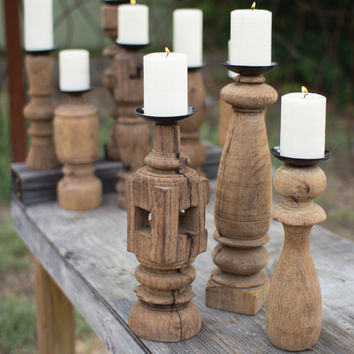 Set of 3 Reclaimed Wooden Furniture Leg Candle Holder